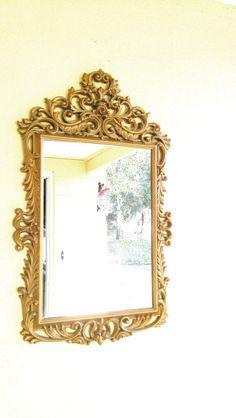 Vintage Burwood Plastic Framed Mirror Gold by DeeSweetNostalgia, $45.99 -SOLD