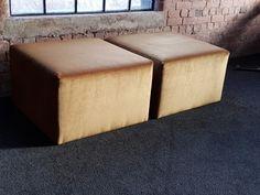 1 metre x 1 metre x 50cm coffee table cubes upholstered in gold velvet