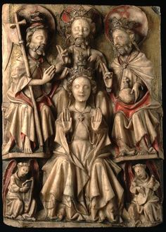 Panel made in England, 15th century, The Coronation of the Virgin, carved, painted and gilt alabaster.