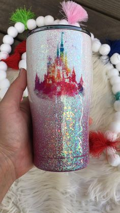 Diy Tumblers, Personalized Tumblers, Custom Tumblers, Girls Tumbler, Tumbler Cups, Minnie Mouse Party, Mickey Mouse, Glitter Tumblr, Disney Cinderella Castle
