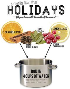 This is one fantastic recipe that makes your whole home smell like the holidays. Make sure once the water evaporates you keep adding more water to the ingredients. The ingredients tend to burn brown after they've been boiled but don't worry they are still good! Just pop them in the fridge when you're aren't using them, they will last a few weeks!