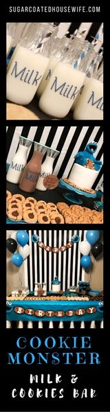 Cookie Monster, Milk & Cookies Bar for a ONE yr old birthday party! Get the tutorials, recipes, and tips to make this party for yourself!!