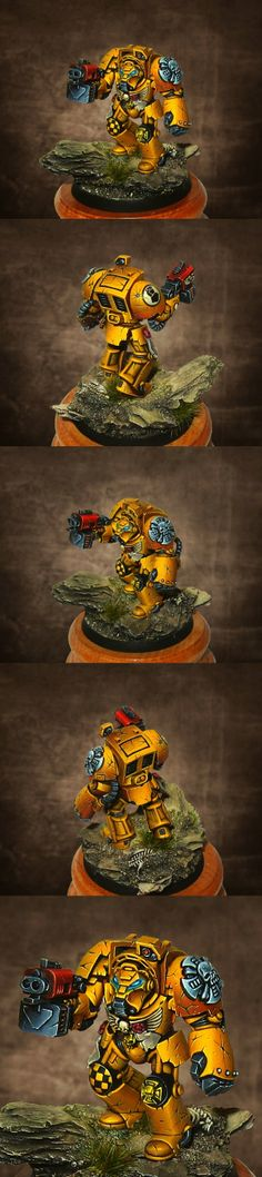Imperial Fist Terminator. Close up. Imperial Fists were one of the three Space Marine First Founding Legions who defended the Emperor of Mankind's Imperial Palace during the Horus Heresy. In fact, it was only due to the intervention and self-sacrifice of a squad of Imperial Fists Terminators that the Emperor was able to strike down Horus.
