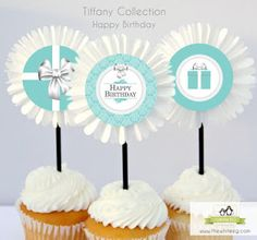 {Free Printable} Tiffany & Co. Inspired Happy Birthday Cupcake Toppers, Tags, or Embellishment ~ Kroma Design Studio | Today's Party Ideas