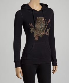 Look at this Sweet Girl Black & Brown Rhinestone Owl Hoodie on #zulily today!