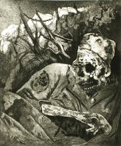 Otto Dix (Germany 1891-1969), Corpse in barbed wire, Flanders; 1924, etching with aquatint. Plate: 11 13/16 x 9 9/16 in. Robert Gore Rifkind Ctr for German Expressionist Studies @ LACMA