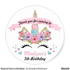 Shop Magical Unicorn Birthday Party Thank You Stickers created by PartySparkleDesigns. Birthday Souvenir, Unicorn Themed Birthday Party, Unicorn Party, First Birthday Parties, Birthday Party Decorations, First Birthdays, Birthday Ideas, Unicorn Wedding, 12th Birthday