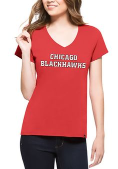'47 Chicago Blackhawks Womens Red Splitter V-Neck