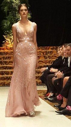 vestido largo rosa bordado  Jorge Ibañez 2014 - coleccion desde el cielo
