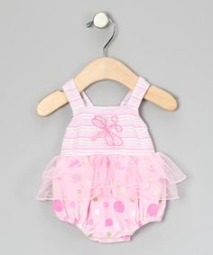 Take a look at this Pink Dragonfly Skirted One-Piece - Infant by Sweet Potatoes