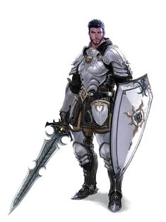 m Paladin Plate Shield Sword midlvl Male Human Armored Sword and Shield Fighter Knight - Pathfinder PFRPG DND D&D fantasy