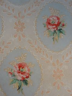 Vintage Wallpaper - Pink Rose Cameo Lace on Blue 1 Yard on Etsy, £9.46