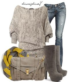 sweater outfit ... Yes! No to the boots though. Maybe with another outfit, they are kind of cute!