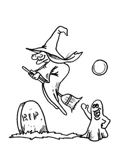 witch and ghost in cemetery coloring page