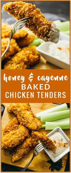 Baked chicken tenders with honey and cayenne - These crispy oven-baked chicken tenders are sweet and spicy, with only 5 ingredients in this recipe: chicken, panko bread crumbs, honey, butter, and cayenne powder.