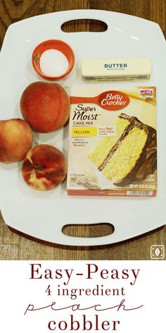 My favorite peach cobbler recipe has only four ingredients and is so easy to make. It& no secret, so check out my Easy-Peasy Peach Cobbler recipe! Cake Mix Recipes, Dessert Recipes, Easy Recipes, Fruit Recipes, Sweet Recipes, Fresh Peach Cobbler, Easy Peach Cobbler Recipe With Cake Mix, Cake Mix Peach Cobbler, Sugar Free Peach Cobbler