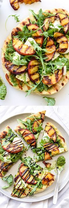 Dinner in 30 minutes! Fresh mozzarella chunks and arugula pesto give this flatbread a bit of a caprese flavor | foodiecrush.com