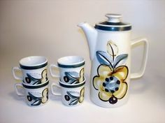 Vintage NORGE Norway STAVANGERFLINT Ildfast COFFEE POT 4 cups handpainted LOT