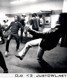 Just Bob Marley and Jimi Hendrix playing Football/Soccer back stage