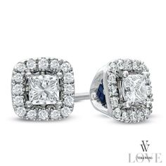 Vera Wang LOVE Collection 1/2 CT. T.W. Princess-Cut Diamond Frame Stud Earrings in 14K White Gold - Zales