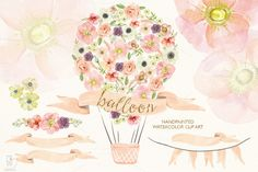 Watercolor floral hot air balloon by GrafikBoutique on Creative Market