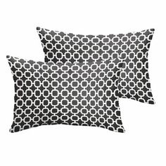Hadley II Black Chainlink Indoor/ Outdoor 13 x 20 Inch Knife Edge Pillow Set