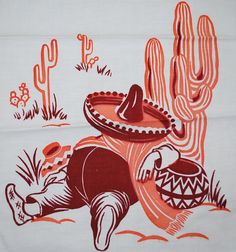 Vintage Kitchen Towel Time for a Siesta Cactus South of the Border