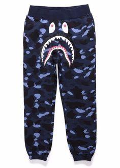 c2b507e2d90 BAPE 1st Camo Shark Sweatpants Blue Bape