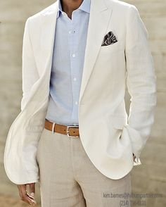 White linen wedding suit - posh men's fashion@Brandon Rowe