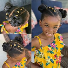 A selection of 15 easy Kids natural hairstyles. twists, natural hair braids, high buns, hairstyles accessorized with bows & more. Cute Short Natural Hairstyles, Little Girls Natural Hairstyles, Lil Girl Hairstyles, Black Kids Hairstyles, Natural Hair Braids, Kids Braided Hairstyles, Natural Hair Styles, Short Hair Styles, Hairstyles Videos