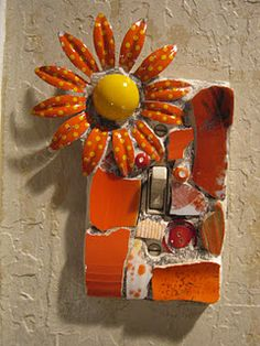 Single switch plate with vintage brooch, mosaic art.