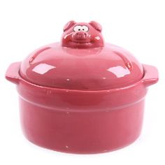 Superbe Pink Piggy Pot With Lid   Perfect For My Future Piggy Kitchen