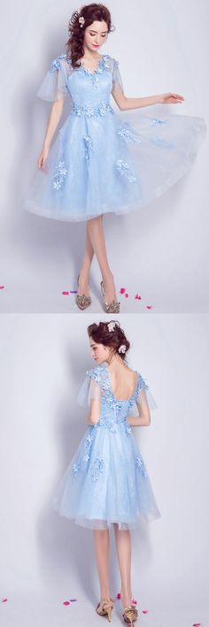 Only $98.99, Prom Dresses Blue A-line V-neck Knee-length Tulle Formal Dress With Flowers #TJ037 at #GemGrace. View more special Prom Dresses,Homecoming Dresses,Homecoming Flash Sale now? GemGrace is a solution for those who want to buy delicate gowns with affordable prices. Free shipping, 2018 new arrivals, shop now to get $10 off!