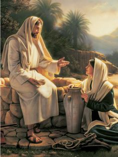 Jesus and the Samaritan woman at the well. Pictures Of Jesus Christ, Religious Pictures, Bible Pictures, Lds Art, Bible Art, Catholic Art, Religious Art, Croix Christ, Jesus Christ Painting