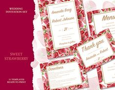 Watercolor Wedding templates with strawberries. by KoelschArtLab on Etsy Wedding Sets, Summer Wedding, Wedding Cards, Wedding Day, Wedding Invitation Design, Wedding Stationary, Bridal Shower Invitations, Invites, Wedding Strawberries