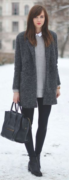 Grey Wool Coat by Vogue Haus