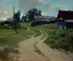 Kirillov is a typical small river village in Russia. While we didn't stop at Kirillov, the village in which we stopped (Irma) looked exactly like this. Russian Landscape, Landscape Art, Landscape Paintings, Russian Painting, Russian Art, Traditional Landscape, Traditional Paintings, Road Painting, Barn Art