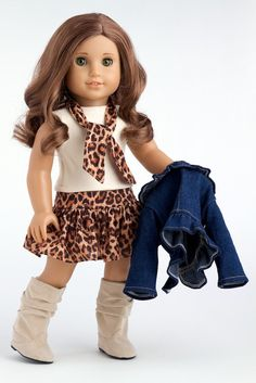 Amazon.com: Adventure - 5 piece outfit - Jeans jacket, ivory tank top, skirt, scarf and boots - American Girl Doll Clothes: Toys & Games