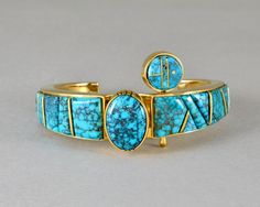 LONE Mt TURQUOISE INLAY BRACELET | Wes Willie | Native Artist