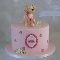 Happy 3rd Birthday Ava #birthdaycake #birthdaygirl #birthday #cakes #caketopper #dog #doggy #cake #birthdaycake #happybirthday #zoesfancycakes #3 #leedscakes #yorkshire #cakedecorating #cakedesign #instacake #cakestagram #cute #handmade #woof #pink #daisies
