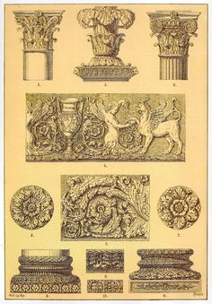Roman Ornamental Architecture and Sculpture    Friezes, capitals, candelabra, rosettes and cornices - mainly corinthian with some composite and mixed corinthian/ionic features