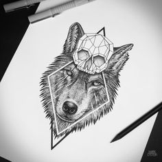 Image result for geometric tattoo wolf