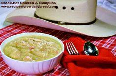 Easy Breezy Crock-Pot Chicken and Dumplings http://recipesforourdailybread.com/2012/09/21/crock-pot-chicken-and-dumplings-pictures/