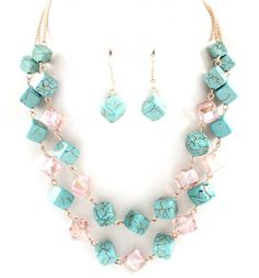 Turquoise Ina Necklace in Orchid Crystal on Emma Stine Limited -Love this for Spring