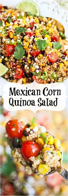 Mexican Corn Quinoa Salad Mexican Corn Quinoa Salad © Jeanette's Healthy Living…recipe needs to be cut in half or third Mexican Quinoa Salad withMexican Street Corn SaladMexican Corn & Black Bean Mexican Food Recipes, Whole Food Recipes, Vegetarian Recipes, Cooking Recipes, Lunch Recipes, Healthy Salads, Healthy Eating, Healthy Food, Mexican Corn