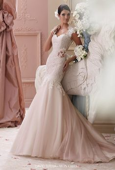 david tutera mon cheri spring 2015 style 115236 meadow corded lace applique trumpet pink wedding dress cap sleeves ivory tea rose color -- David Tutera for Mon Cheri Spring 2015 Collection Highlights #pink #weddingdress