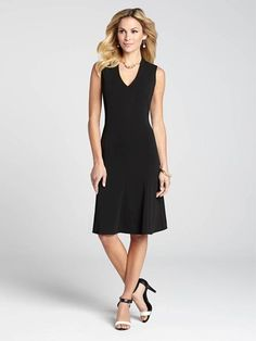 This gorgeous piece is an LBD you'll wear again and again this Spring. It features a flared skirt and v-neck for an ultra feminine and very flattering fit.3010101-0587
