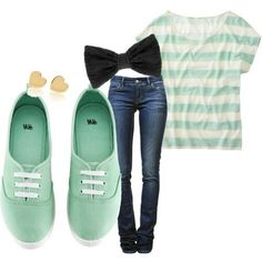 Casual, girly, gold earings, black hair bow + mint combo