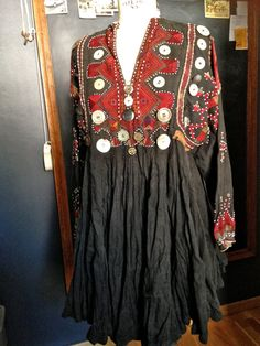 antique Afghan Nomadic Tribal Dress Nuristan hand by siouxsalvage
