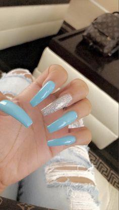 different shaped nails Blue Acrylic Nails, Square Acrylic Nails, Acrylic Nail Designs, Claw Nails, Aycrlic Nails, Fire Nails, Nagel Gel, Dream Nails, Stylish Nails